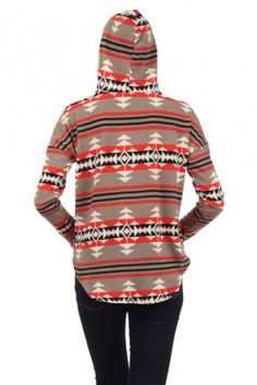 Aztec tribal printed, long sleeve V-neck hooded pull over sweater with hi-lo hem.