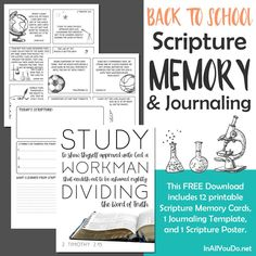 Grab Your Back to School Scripture Memory Work for Kids Printable Pack Today!! #memorywork #printablepack Bible Resources, Homeschooling Resources, Scripture For Today, School Memories, Sunday School Lessons, Bible Lessons, Teaching Kids, Back To School, How To Memorize Things