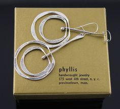 Phyllis Sklar Modernist Sterling Kinetic Earrings 1950