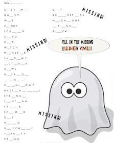 Boo! Find the missing Halloween vowels! Fun Language Arts Halloween student worksheets! priced item