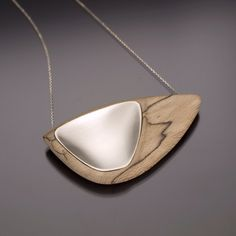 Simplex Series - Spalted Beach wood & Sterling silver, Necklace   Karlie Dykhouse