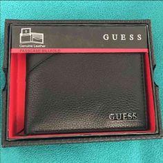 "New Guess Men's Black Leather Wallet New Guess  Men Wallet Color: Black Size: 4.1"" x 3.1"" 6 Credit Cards Slots 2 Bills Slots Guess Bags Wallets"