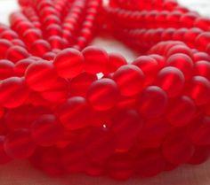 Lot of 50 6mm Czech glass druks, Matte Siam Ruby Red smooth round druk beads C4550