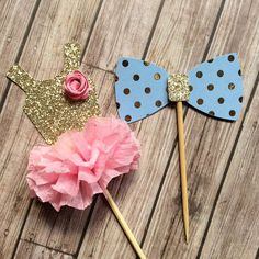 Gender Reveal Tutu and Bow Tie Cupcake by PartyBashCreations
