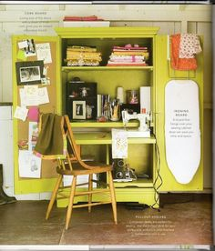 Blue i Style: {organizing with style} Small Sewing Space Inspiration sew einfach clothes crafts for beginners ideas projects room Small Sewing Space, Sewing Spaces, Small Spaces, Sewing Closet, Sewing Nook, Sewing Room Organization, Small Space Organization, Organizing, Craft Armoire
