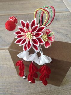 Japanese kanzashi from the コマチヘア stand on Nakamise street located in Asakusa, Tokyo.