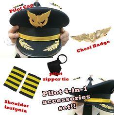 PILOT ACCESSORIES SET | PILOT COSTUME | PILOT COSPLAY | PILOT AIR CREW | STEWARDESS | PILOT BADGE | PILOT CHEST BADGE | PILOT INSIGNIA | PILOT SHOULDER BADGE | PILOT CAP | PILOT HAT | AIRLINES SINGAPORE STEWARDESS | PILOT WINGS | AVIATOR WINGS