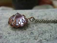 #Vintage Alexandrite Pointed Top $Crystal Neo Victorian Gothic Antiqued Brass