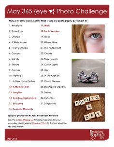 May 365 {eye love} Photo Challenge List | Healthy Vision Month | CaptureYour365