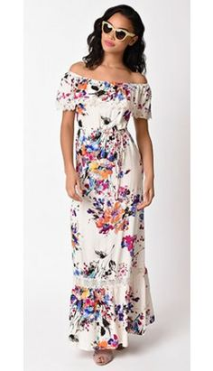 Vintage Style Ivory & Multi Watercolor Floral Off Shoulder Maxi Dress