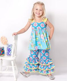 Take a look at this Up Up Away Lily Tunic & Ruffle Pants - Infant, Toddler & Girls by Jelly the Pug on @zulily today! good price