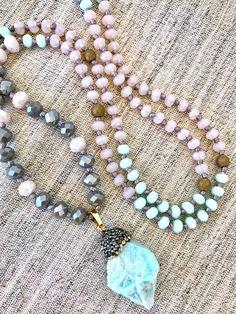 Amazonite pendant mala necklace crystals mala necklace light pink moonstone aquamarine crystals necklace yoga mala meditation necklace by Katiaicrafts on Etsy