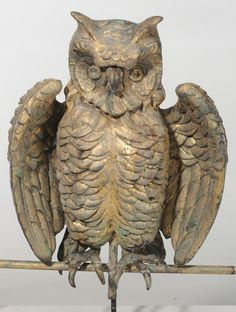 Molded and Gilt Copper Owl Weathervane, American, First half of 20th century.