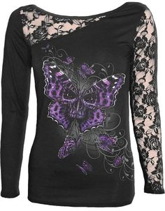 Spiral - Womens - BUTTERFLY SKULL - Lace One Shoulder Top Black - M Spiral http://www.amazon.com/dp/B00JZBI4B2/ref=cm_sw_r_pi_dp_.0f0ub1W0RJDR