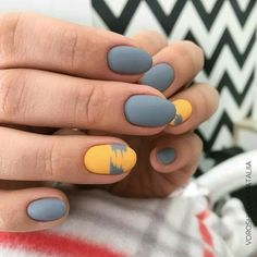 32 Gorgeous Looks for Matte Short Nails; matte nails for fall;easy designs for short nails. Orange Nail Designs, Nail Art Designs, Nails Design, Grey Matte Nails, Nagellack Trends, Orange Nails, Yellow Nail, Super Nails, Creative Nails
