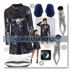 """Color Change Blue & Silver Fun"" by voguefashion101 ❤ liked on Polyvore featuring Topshop, Lulu Guinness, Yves Saint Laurent, MSGM, Bobbi Brown Cosmetics and Arche"