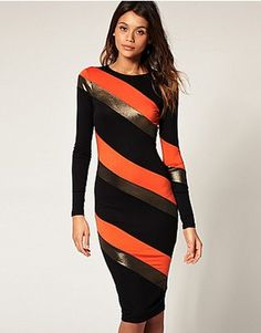 Asos Midi Bodycon dress in metallic stripe...worn by First Lady Michelle Obama
