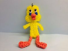 Rainbow Loom TWEETY BIRD Big Version. Designed and loomed by Looming WithCheryl. Click photo for YouTube tutorial. 06/04/14.