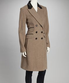 Sand Double Breasted Leather Trim Wool-Blend Coat | Daily deals for moms, babies and kids