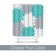teal and gray shower curtain. Turquoise Gray SHOWER CURTAIN Custom MONOGRAM Personalized Bathroom Decor  Flower Burst Pattern Beach Towel Plush Bath Mat Made In Usa Grey And Teal Shower Curtains Gray Curtain From Joss
