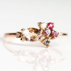 Stunning cocktail ring with peach morganite & CZ stones set in Rose Gold. A statement ring in vintage style, sure to turn heads with its morganite sparkle. Pink Topaz, Pink Sapphire, Sapphire Rings, King Ring, Morganite Ring, Conflict Free Diamonds, Cluster Ring, Gold Bands, Ring Designs