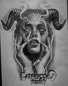 Sketch Tattoo Design, Tattoo Sketches, Tattoo Drawings, Tattoo Designs, Valkyrie Tattoo, Demon Tattoo, Samurai Tattoo, Satanic Tattoos, Satanic Art