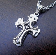 Silver cross necklace Mens silver cross Gothic cross