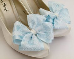 Light Blue ShOe CliPs Satin and Ivory Lace Bows for Shoes Heels or Flats Bridal Wedding Pinup Burlesque by Seriously Sassy by SeriouslySassyStuff on Etsy https://www.etsy.com/listing/201732708/light-blue-shoe-clips-satin-and-ivory