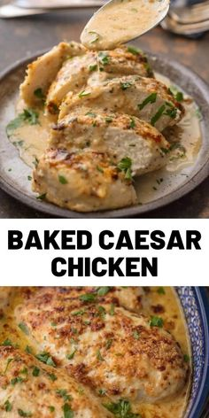 Baked Caesar Chicken Recipe Caesar Chicken is the perfect melt in your mouth chicken recipe! It's creamy, simple, and filled with flavor. This easy chicken recipe only has 4 Ingredients and takes less than 30 minutes. Baked Chicken Recipes, Turkey Recipes, Meat Recipes, Dinner Recipes, Cooking Recipes, Healthy Recipes, Yummy Dinner Ideas, Lunch Recipes, Recipies