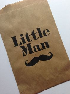 25 Little Man Mustache Party Candy Bags-Candy Buffet-Baby Shower, Birthday Party. $15.00, via Etsy.