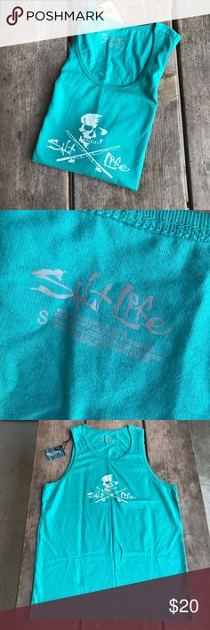 Salt Life Teal Tank Top Pirate Logo Fishing Rods S Salt Life Teal Tank Top Pirate Logo Fishing Rods NEW NWT Size Small BEACH New with tag. Features the Salt Life pirate with fishing rods instead of crossbones. 100% cotton. Great for the beach! Please see pictures for measurements. Salt Life Shirts Tank Tops