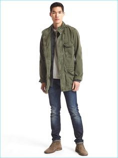 Gap Hooded Fatigue Jacket, styled with denim jeans and chukka boots.