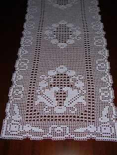 Fine lace crochet doily (runner) all handmade Size 120 x 42 cm. Colour: white Conditions: new