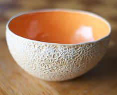 Oh a Cantalope bowl..! Recreate the outside with gauze/cheesecloth and sponging + #23 inside! Yum!