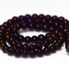 10 x perle electroplate Violet irisé 4mm, en Verre, Forme ronde -- PVE-0017.1 : Perles en Verre par crehando