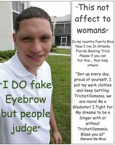"""""""this not affect to womans!"""" An eyebrow puller encourages you to be a #trichotillomania #gladiator!"""