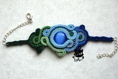 Lakeside - a soutache bracelet with cats eye by Captain-Alice