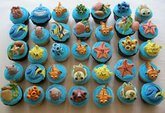 Finding Nemo Cupcakes - and then just have a small cake for hunter to blow out candles Finding Nemo Cake, Finding Dory, Finding Memo, 3rd Birthday Cakes, Birthday Ideas, Cute Cupcakes, Sea Cupcakes, Creative Cakes, Cupcake Cakes
