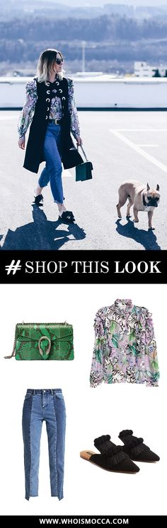 Get the Look, Shop the Look: Frühlingsoutfit mit Volantbluse, Mom Jeans und Eyelets-Weste! Alle Outfit-Details auf www.whoismocca.com #ootd #gucci #dionysus