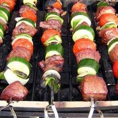 After a wild night marinating in a slightly sweet soy sauce and lemon-lime mixture, sirloin steak chunks are skewered with veggies and grilled. you'll want to make these again and again!