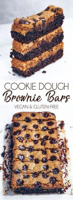 Cookie Dough Brownie Bars #cookiedough #brownies #vegan #glutenfree #dairyfree #healthy #oatflour #cake #loaf #chocolate #chocolatechips #recipe #bars #gbutter #nutbutter #protein #veganprotein #video #recipevideo #vegancookiedough