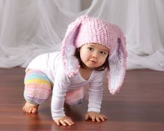 CIJ SALE 12 to 24m Bunny Hat Baby Beanie Crochet Bunny Ears Toddler Hat Baby Pink White Flopsy Rabbit Hat Toddler Girl Photo Prop #baby #children #kids #babyboy #babygirl #easter #bunny #bunnyhat #babyhat #hat #babamoon #etsy #photoprop #pink