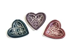 Just in time for Valentines Day, these miniature heart dishes are handcrafted of fine porcelain and carved with a Moroccan henna inspired motif.