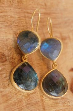 Roost Labradorite Double Teardrop Earrings