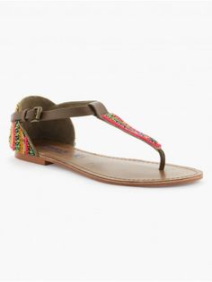Sandales cuir perles multicolores