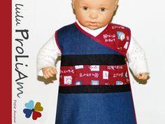 Robe bébé trapèze en jean's, chasuble, cache cœur, portefeuille, croisée ♥ 6/24 mois, robe tendance et moderne fabriquée : Mode Bébé par lulu-proliam