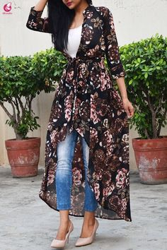 Blue Black Multicolor Georgette Floral Long Shrug - Shrugs Online in India Long Shrug, Absolutely Stunning, Beautiful, Plain Black, That Look, Kimono Top, Floral Prints, India, Blue