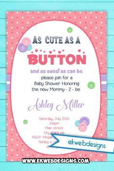 as cute as a button as sweet as can be baby shower invitations