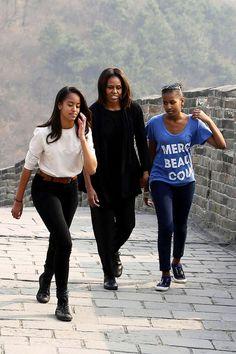 Malia Obama , Michelle Obama and Sasha Obama at the Great Wall of China ~ 2014