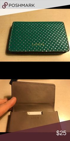 Lodis Teal Green & Silver Business Card Case NWT New. Tags Lodis Accessories